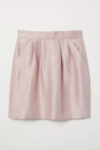Textured-weave Skirt - Pink