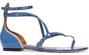 Eyelet-embellished Patent-leather Sandals