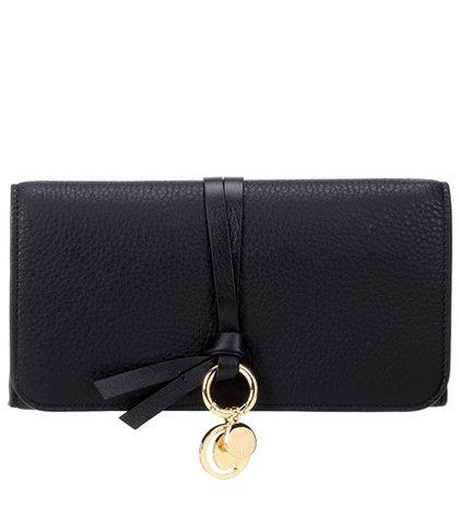 Alphabet Long leather wallet