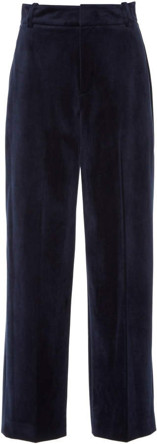 Cropped Velvet Wide-Leg Pants