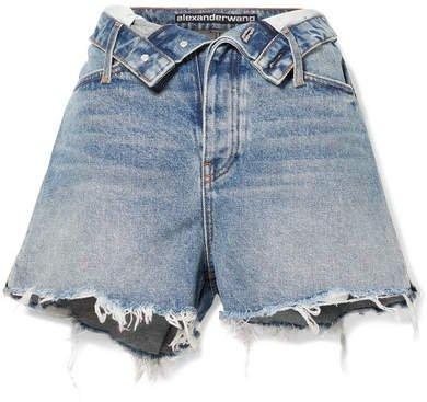 Bite Flip Fold-over Frayed Denim Shorts - Mid denim