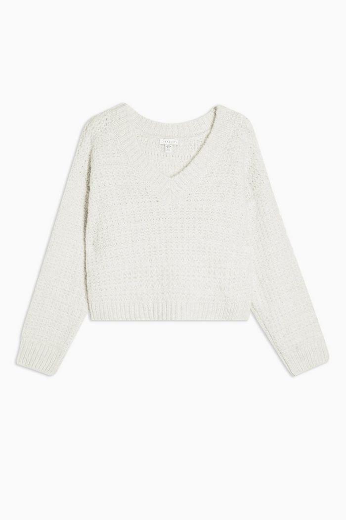 Oat Stripe V Neck Knitted Sweater   Topshop