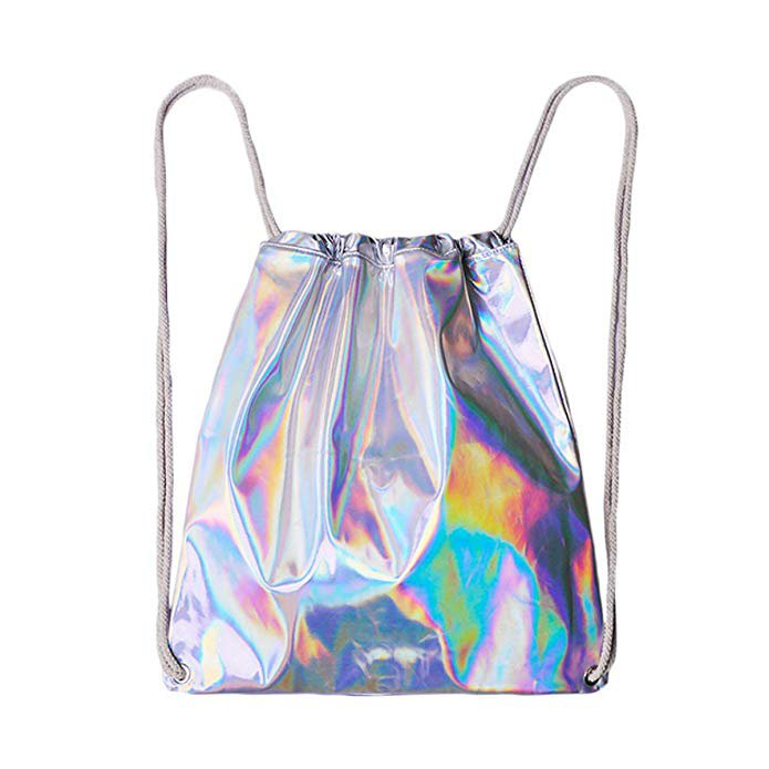 Amazon.com: Mily Silver Holographic Laser Leather Drawstring Backpack Travel Casual Daypack: Clothing