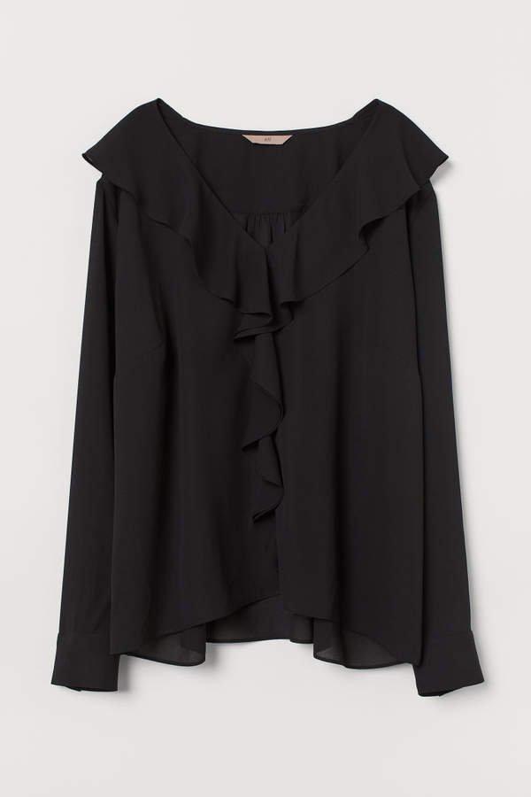 H&M+ Flounced V-neck Blouse - Black