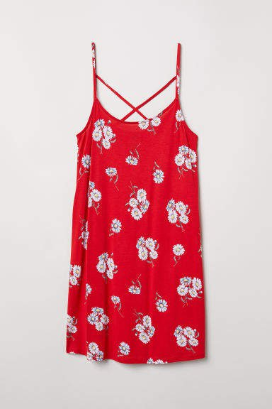 Patterned Jersey Dress - Red