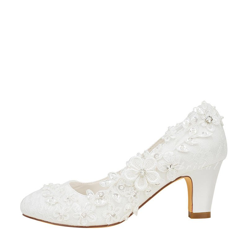 Women's Pumps Chunky Heel Silk Like Satin With Stitching Lace Flower Crystal Pearl Wedding Shoes (047128165) - Vbridal