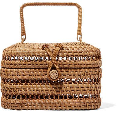 Max Rattan And Bamboo Tote - Sand