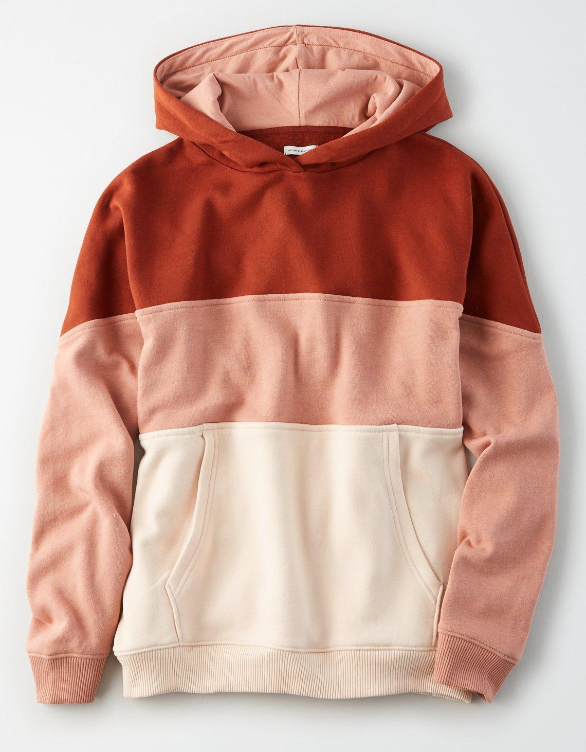 AE Fleece Color Block Drop Shoulder Hoodie