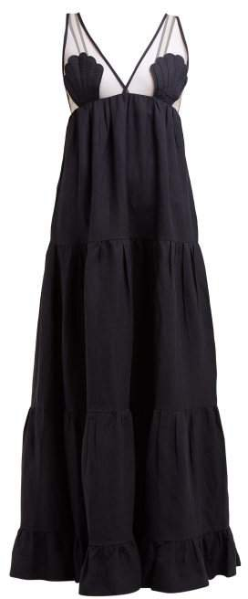 Adriana Degreas - Marine Tulle Panel Linen Blend Maxi Dress - Womens - Navy
