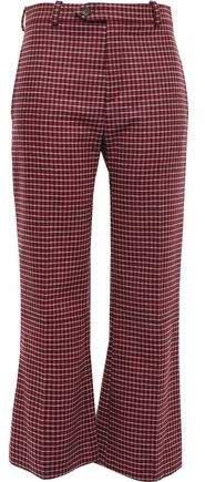 Checked Wool-blend Tweed Bootcut Pants