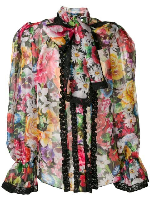 Dolce & Gabbana Puff Structured Floral Blouse - Farfetch