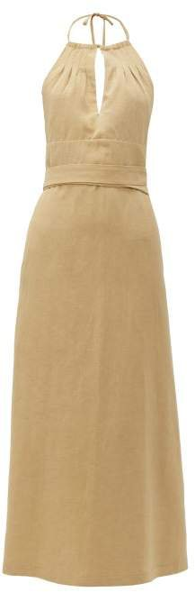 Split Front Halterneck Slubby Silk Blend Dress - Womens - Tan