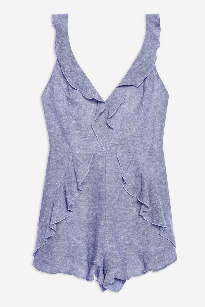 Ruffle Romper with Linen | Topshop blue