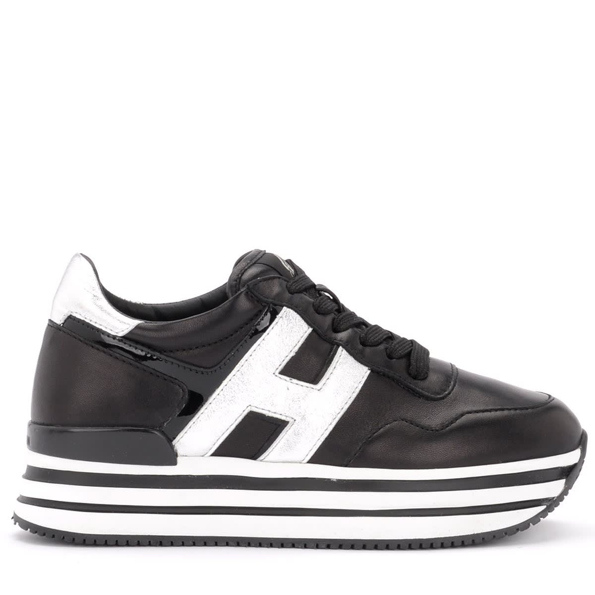 Hogan H438 Black Leather Sneaker With Silver Laminated Leather Details