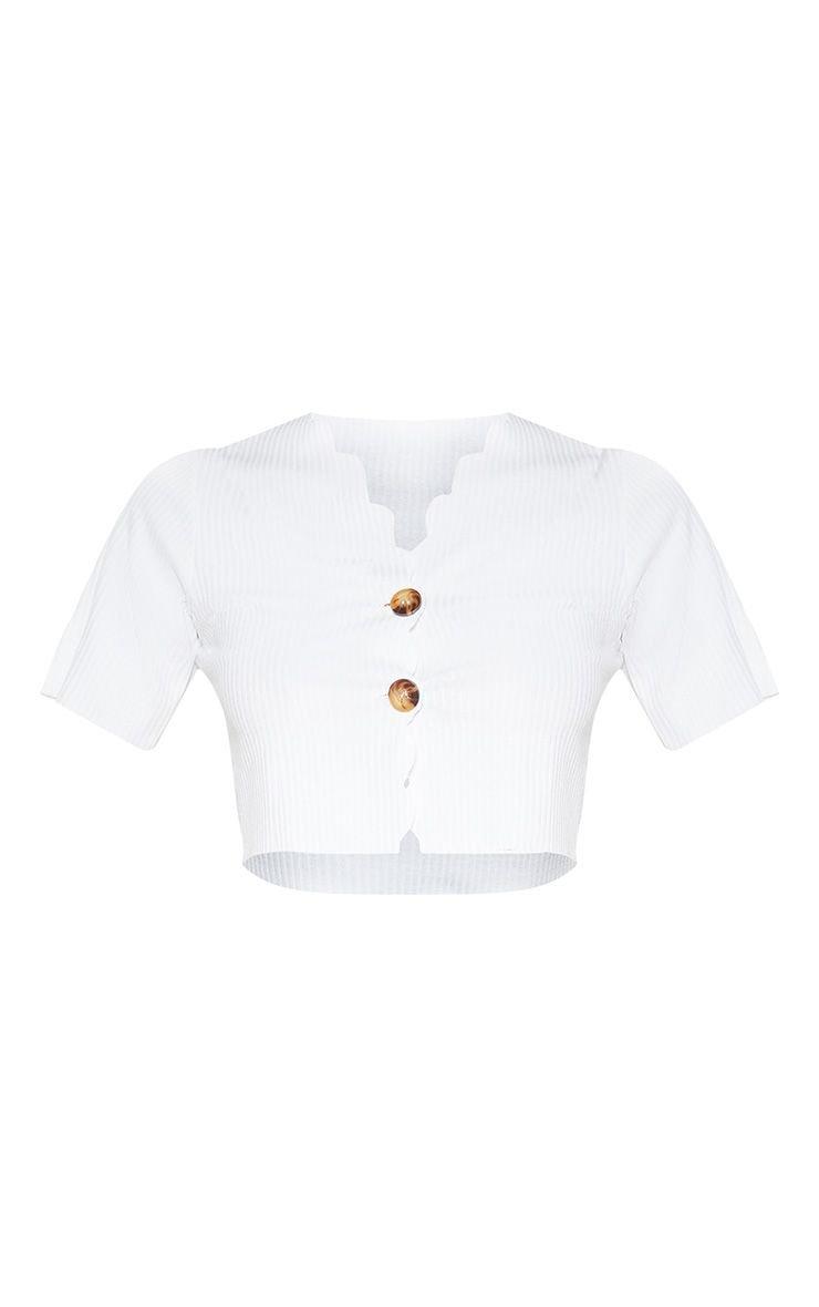 Cream Rib Scallop Hem Button Front Crop Top | PrettyLittleThing