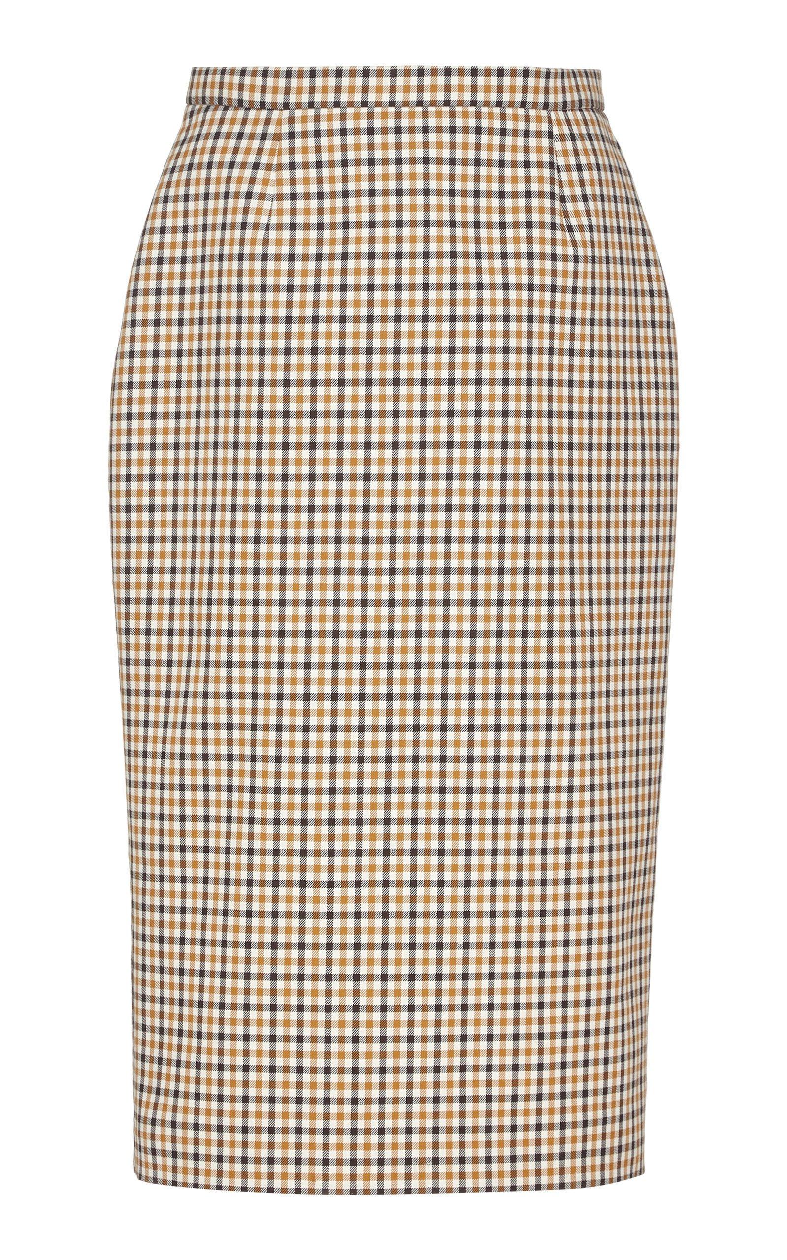 Rochas Gingham Pencil Skirt Size: 50