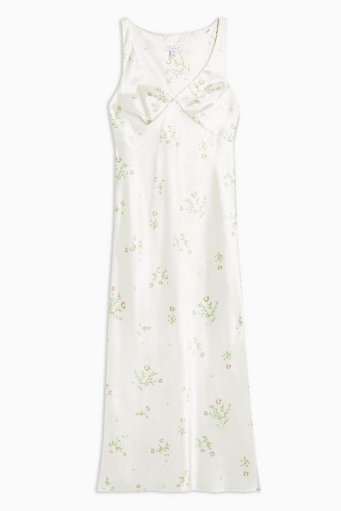 Daisy Print Slip Midi Dress | Topshop white