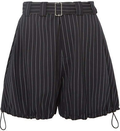 Striped Belted Wool-blend Shorts - Navy