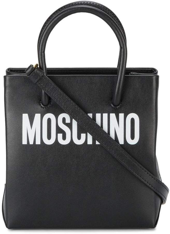 Black logo print leather tote bag