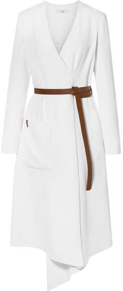 Leather-trimmed Wrap-effect Draped Crepe Midi Dress - White