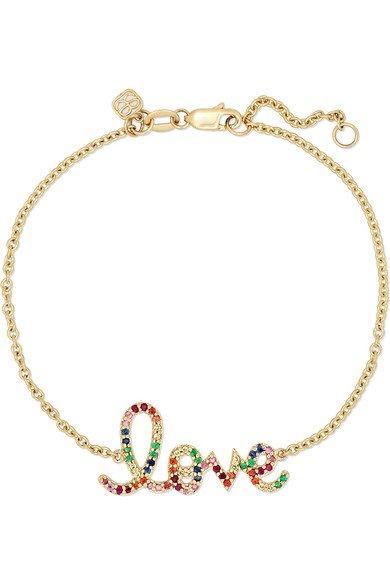 Sydney Evan   Medium Love 14-karat gold multi-stone bracelet   NET-A-PORTER.COM