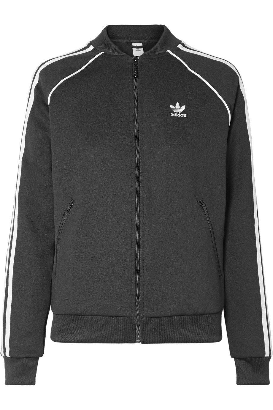 adidas Originals | Striped satin-jersey track jacket | NET-A-PORTER.COM