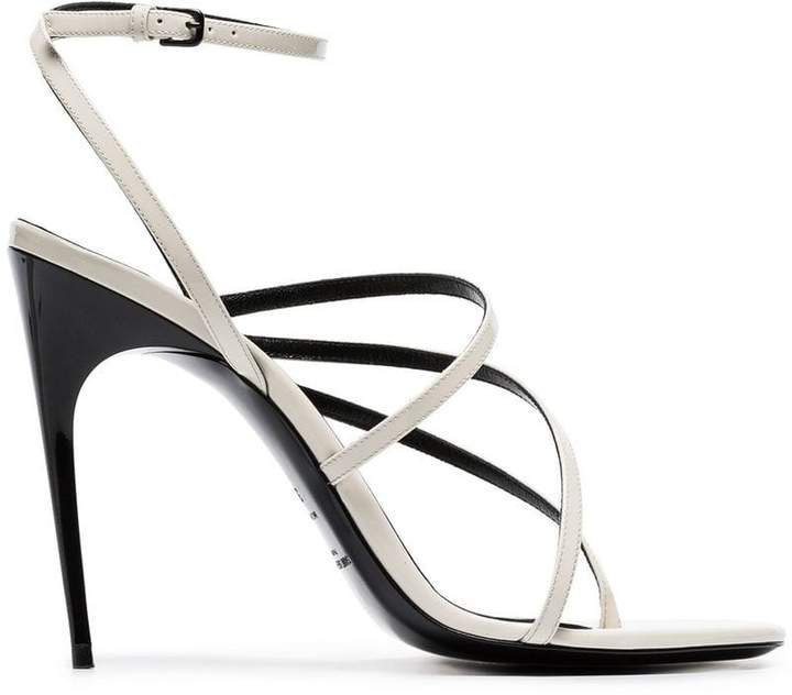 white Paris 105 strappy patent leather sandals