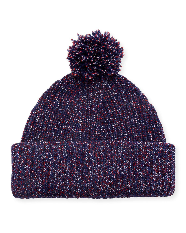 Rag & Bone Cheryl Speckled Pompom Beanie Hat