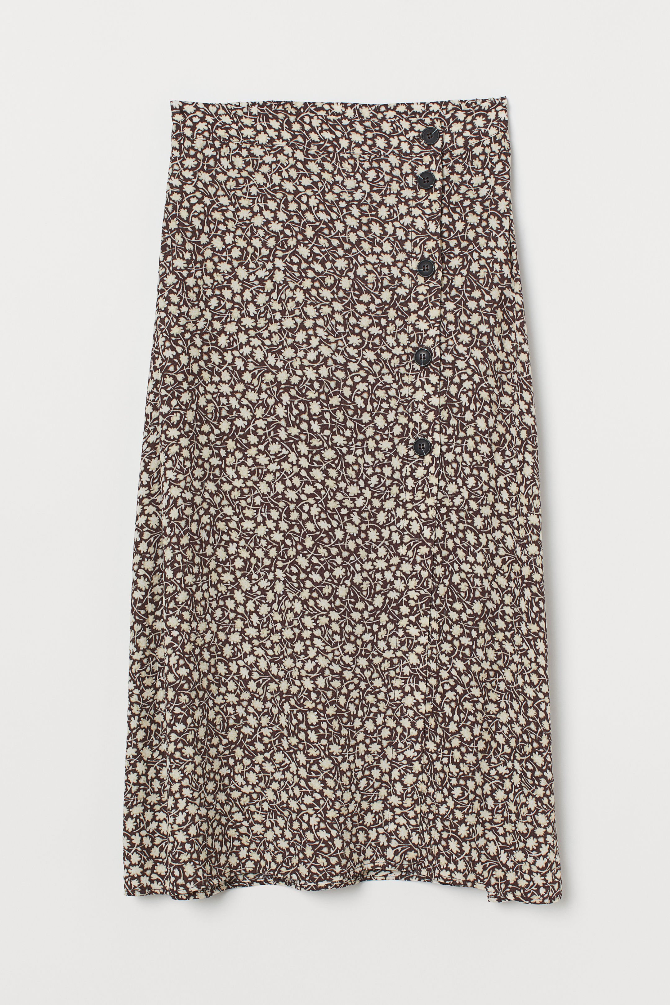 Calf-length Skirt - Brown/white floral - Ladies | H&M US
