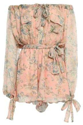 Off-the-shoulder Floral-print Silk-georgette Playsuit