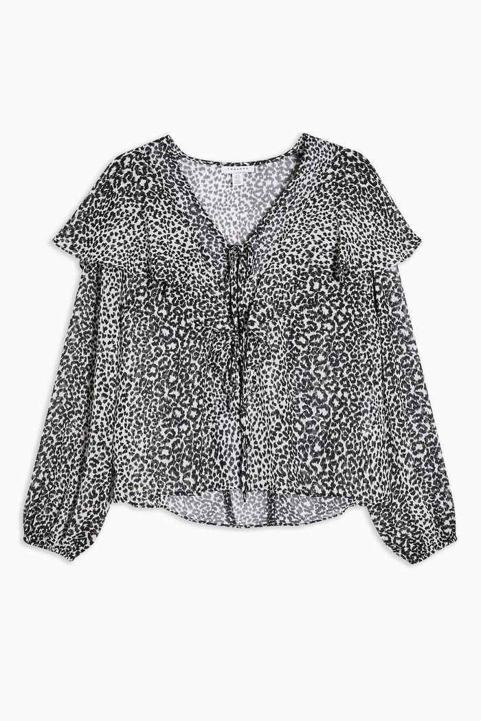 Black and White Animal Frill Print Blouse   Topshop