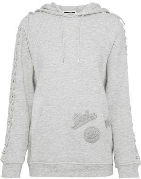 Lace-up Appliqued French Cotton-blend Terry Hoodie