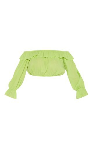 Neon Lime Woven Frill Bardot Long Sleeve Crop Top | PrettyLittleThing