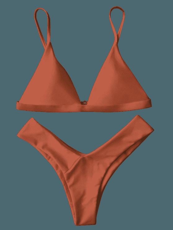 Soft Pad Spaghetti Straps Thong Bikini Set BURNT ORANGE: Bikinis M   ZAFUL
