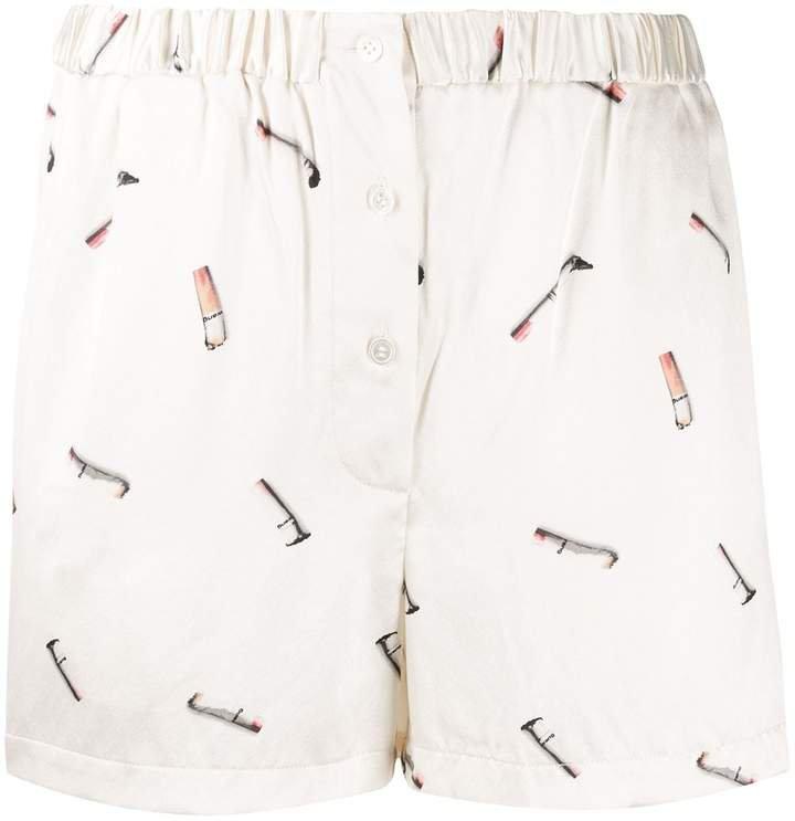 cigarette-butt print shorts