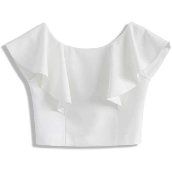 white tops chicwish drift in a frilling white cropped top found on polyvore featuring dkwiflj - mybestfashions.com