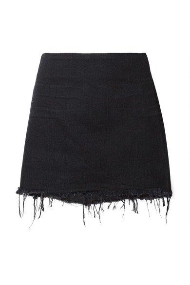 Alexander Wang | Frayed denim mini skirt | NET-A-PORTER.COM