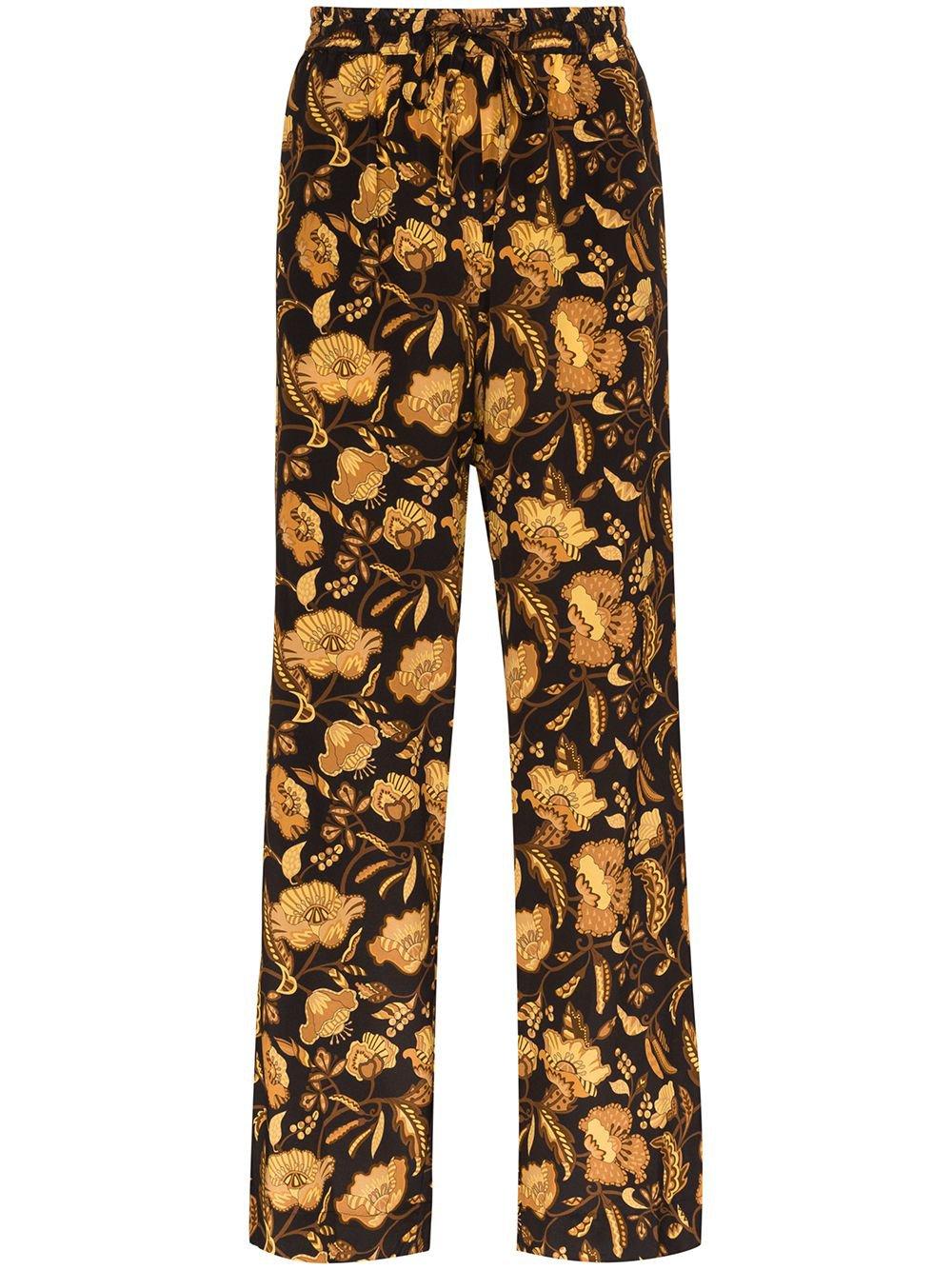 Black Matteau Floral Print Silk Trousers | Farfetch.com