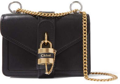 Aby Chain Mini Leather Shoulder Bag - Black