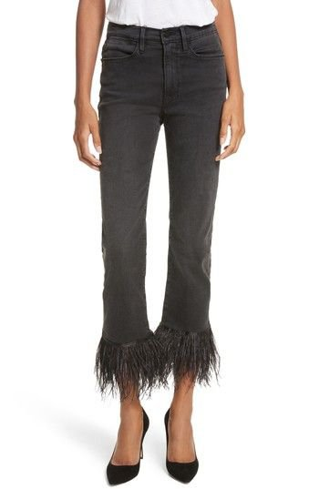RAME Le High Straight High Rise Feather Hem Jeans