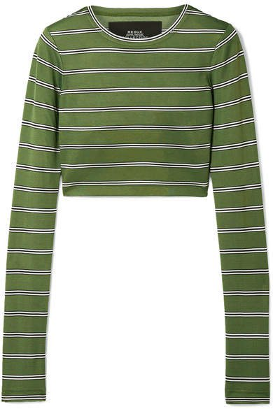 Cropped Striped Jersey Top - Green