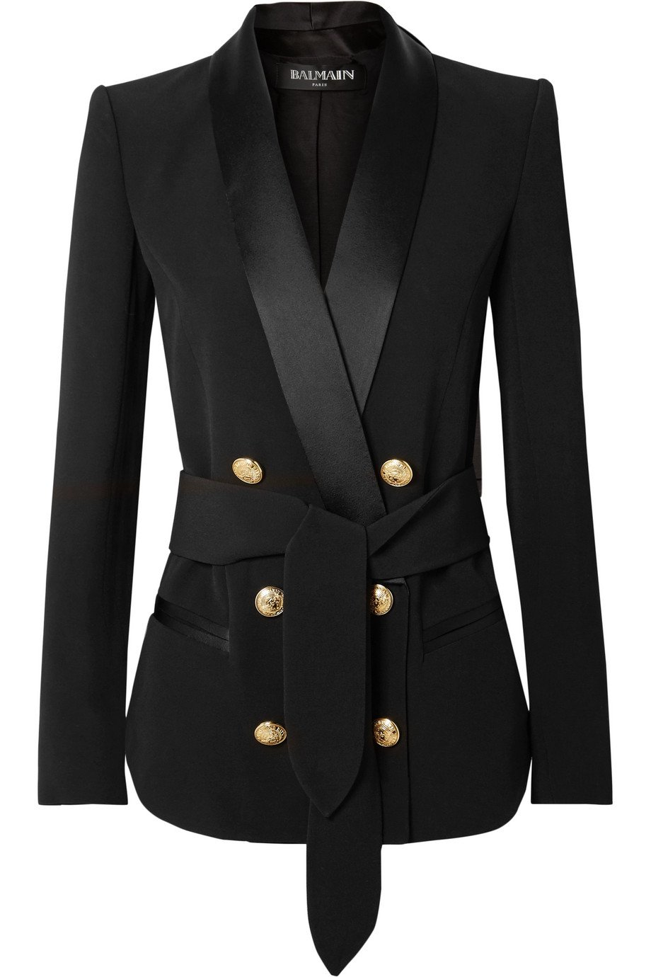 Balmain | Belted double-breasted crepe blazer | NET-A-PORTER.COM