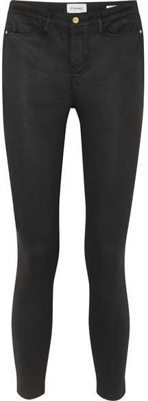 Le High Coated High-rise Skinny Jeans - Black