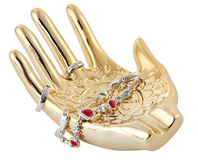 Amazon.com: Gold Plated Ceramic Embossed Hamsa Hand for Ring and Jewelry Holder. Size 148 x 110 x 60mm/5.83 x 4.33 x 2.36in: Home & Kitchen
