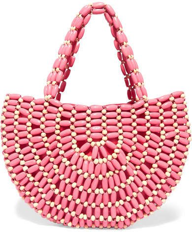 Nelly Two-tone Beaded Tote - Pink