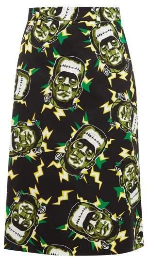 Frankenstein's Monster Print Cotton Pencil Skirt - Womens - Black Green
