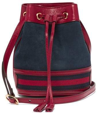 Ophidia Mini Suede Bucket Bag - Womens - Red Navy