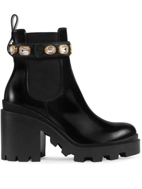 Black Gucci Leather Ankle Boot With Belt | Farfetch.com