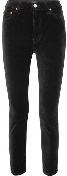 High Rise Ankle Crop Stretch-velvet Skinny Pants - Black