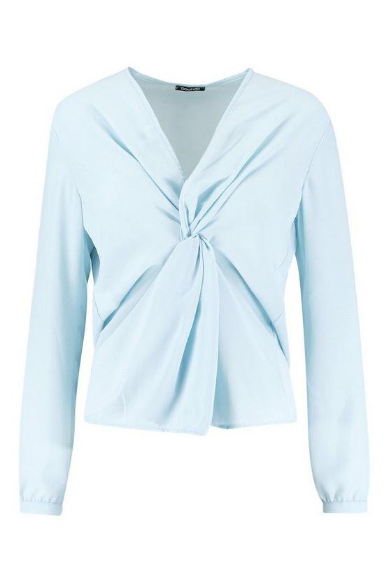 Woven Knot Front Blouse   Boohoo